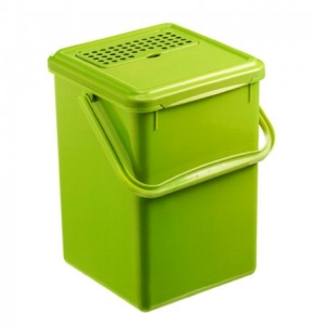 Bioeimer mit Aktivkohlefilter 8,0 Liter, 23 x 22,5 x H 27,5 cm, geruchsdichter Deckel, grünes Polypropylen