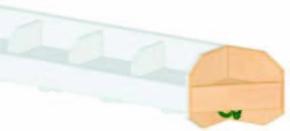 (10) Außenecken-Mützenablage 1-reihig, mit Bilderleiste, B 20 x H 20 x T 18 cm