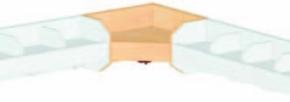 (9) Innenecken-Mützenablage 1-reihig, mit Bilderleiste, B 35 x H 20 x T 35 cm