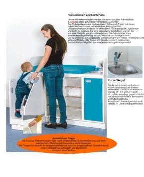 Wickelkommode mit Treppe + Waschbecken & 8 ErgoTrayboxen
