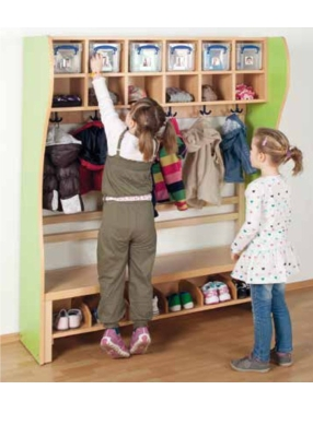 Komplett-Garderobe mit Stütze und 2-reihiger Mützenablage mit Kunststoffboxen (Ausführung wählen)