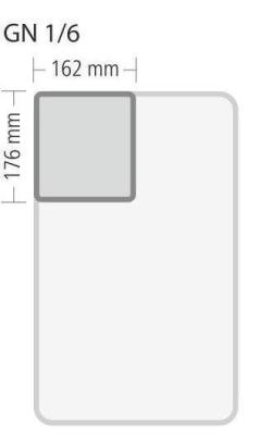 """Gastronorm """"Serie 70"""" - Größe 1/6 GN (= 176×162 mm)"""