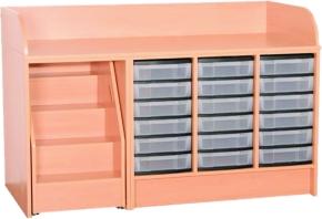 Wickelkommode mit ausziehbarer Treppe, mit Kunststoffschüben, Breite 148 cm (Ausführung wählen)