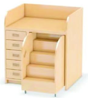 Wickelkommode mit ausziehbarer Treppe, mit 1x5 Holzschubkästen, Breite 92 cm (Ausführung wählen)