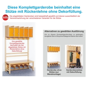 Komplettgarderobe inkl. Stütze ohne Dekorfüllung, 4 Plätze, B/H/T 80×158×39 cm (Ausführung wählen)