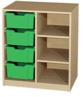 Unterschrank 2-reihig mit 4 Kunststoffschüben, B/H/T: 70,2 x 80 x 50 cm