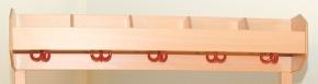 Mützenablage 1-reihig, mit Bilderleiste, 120 cm / 6 Haken
