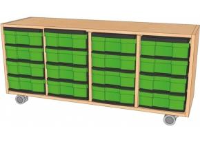 Fahrbares Regal mit InBoxen, B/H/T 130,5 x 59 x 40 cm