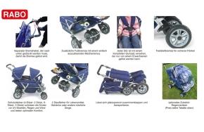 RABO Krippenwagen 4-Sitzer blau, mit Hand- und Fußbremse