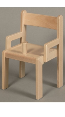 Stuhl SIMEON mit Knoppel und Armlehnen Typ 1, Buche massiv, Sitzhöhe 26 cm, Kunststoffgleiter