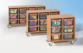 Regal mit 12 Boxen, B/H/T 147 x 78 x 43 cm