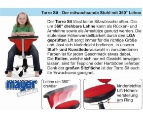 "Drehstuhl ""Torro-Sit"", Hartboden-Rollen, 38-50 cm, 264 Stoff grau"