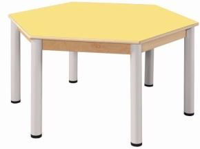 Höhenverstellbarer 6-Eck-Tisch Ø 120 cm, Formica-Tischplatte (Variante wählen)