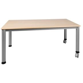 Fahrbarer Rechteck-Tisch 120x60 cm mit Stahlgestell