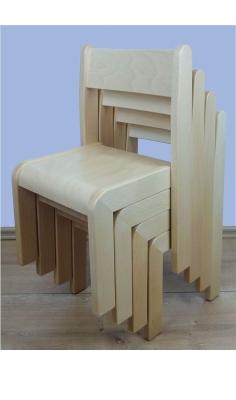 Stapelstuhl SIMEON, Buche massiv, Sitzhöhe 21 cm, Filzgleiter
