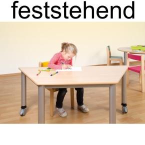 Feststehender Trapez-Tisch 120x60 cm mit Stahlgestell